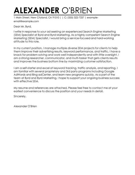 Amazing SEM Cover Letter Examples & Templates from Our