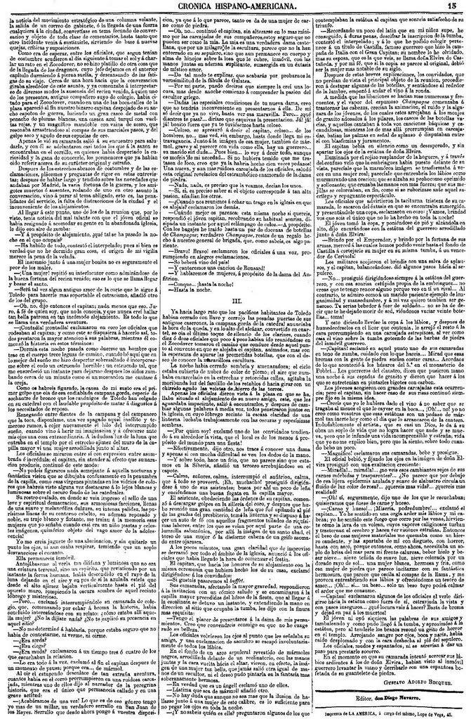 Leyenda de El Beso de Gustavo Adolfo Bécquer publicada en La América el 27 de julio de 1863. Página 2