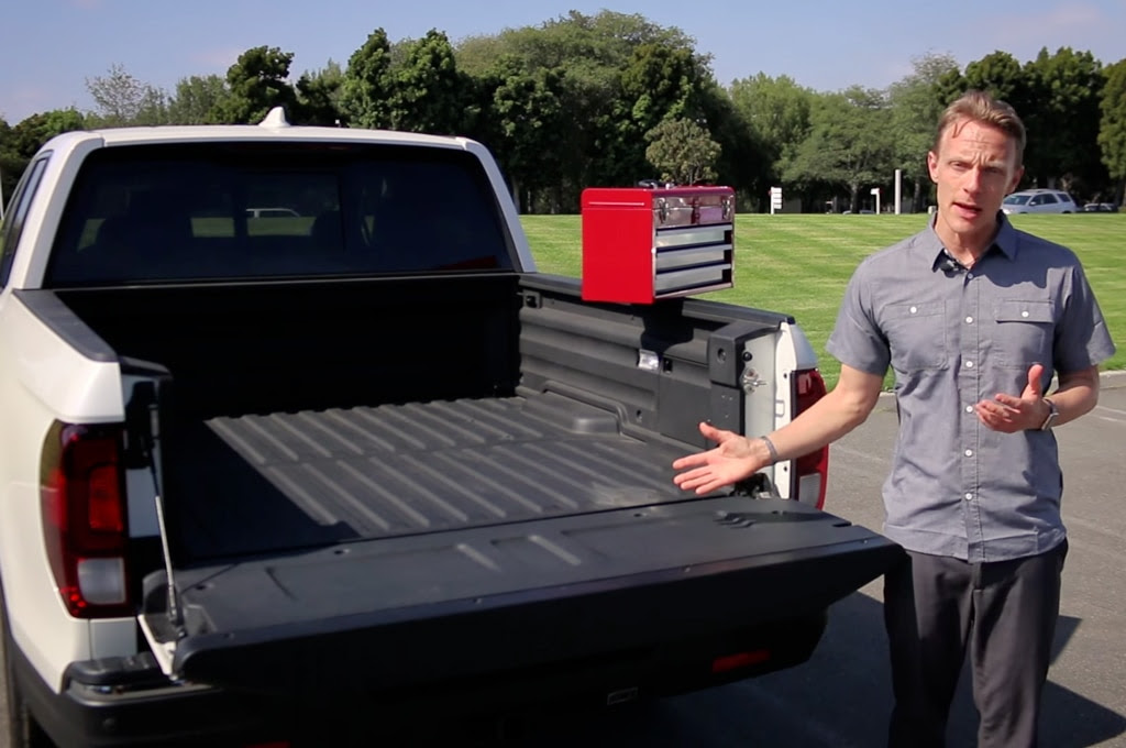video honda drops toolbox into bed of ridgeline to prove