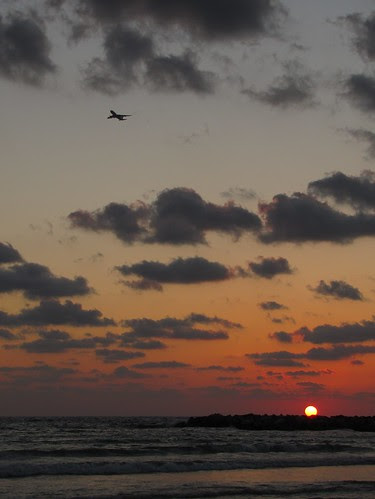Sunset with plane