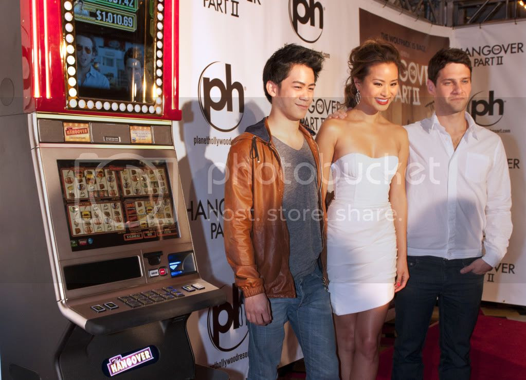 The Hangover 2 Cast Members Stand Next to The Hangover Slots
