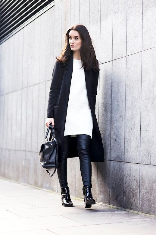 Le Fashion Blog Winter Style Black Long Coat Long Side Zip Sweater Leather Pants Black Patent Leather Ankle Boots Via Anouska