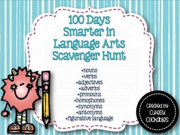 100 days Smarter in Language Arts Scavenger Hunt for Big Kids