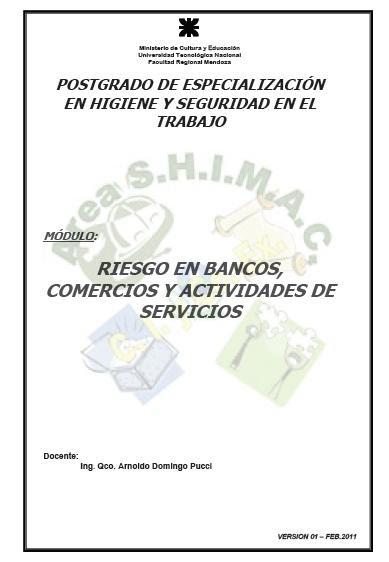 HIGIENE y SEGURIDAD - RIESGOS en BANCOS COMERCIOS y ACTIVIDADES de SERVICIOS