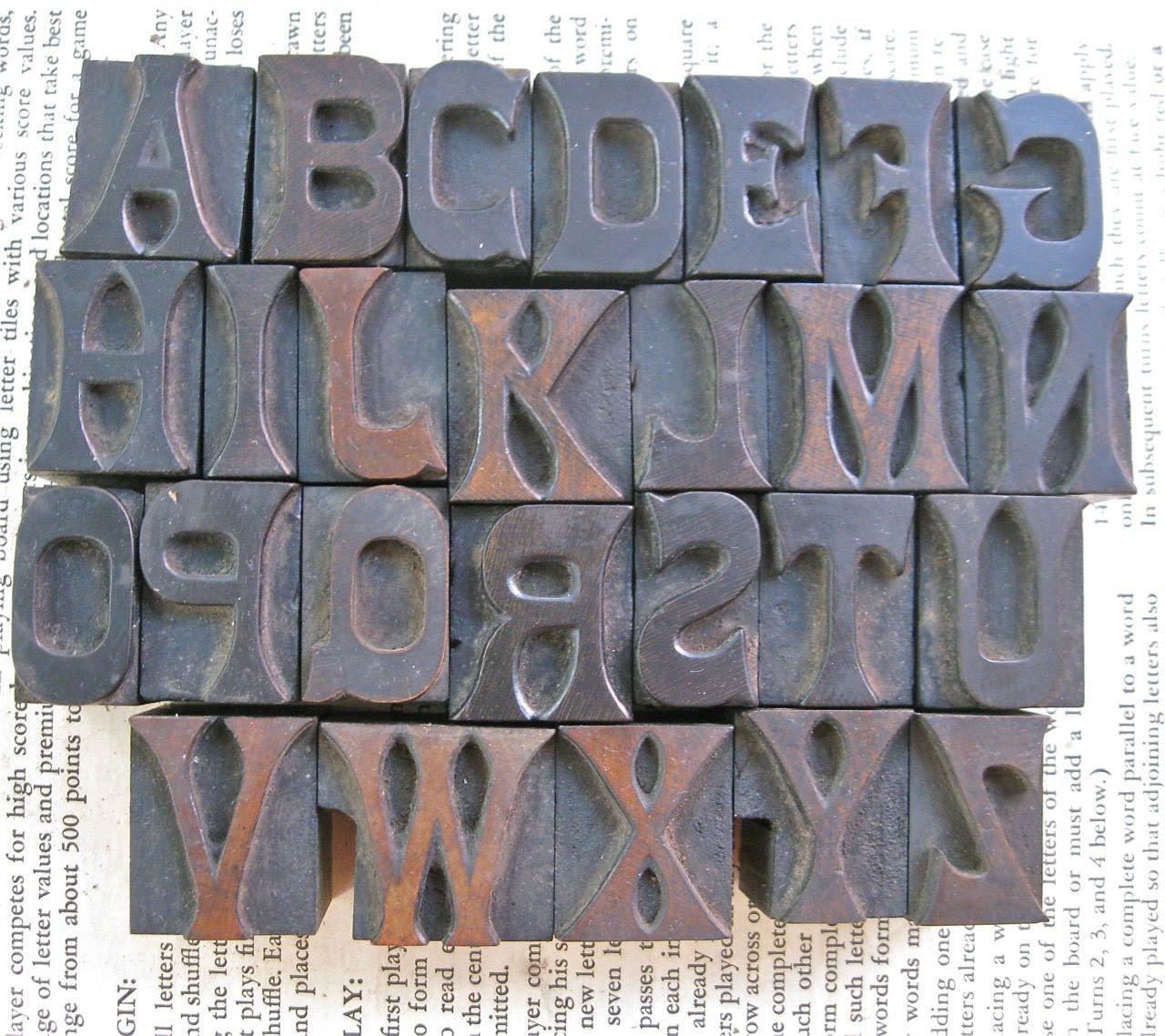 Vintage Letterpress -Complete Alphabet - 26 Letters