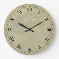 Metallic Plaster Faux Finish Wallclock Roman Numer