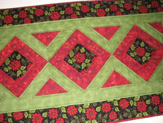 Quilted Christmas Table RunnerRed and Green by VillageQuilts