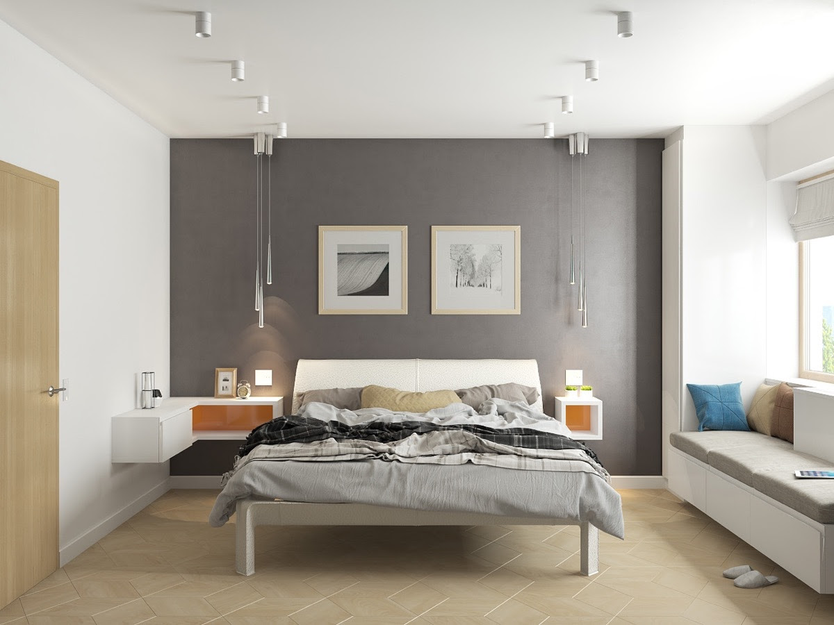 grey and white bedroom feature wall pops of orange
