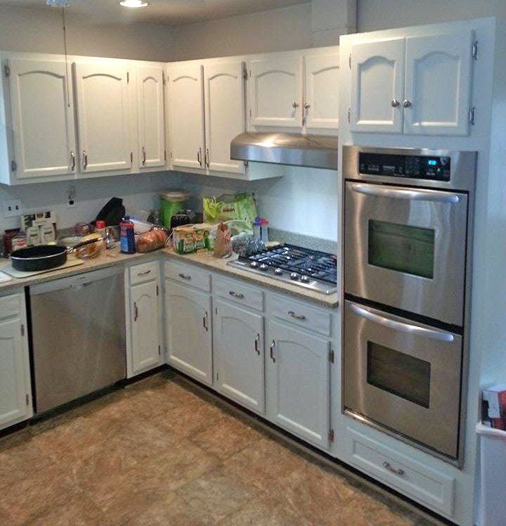 Kitchen Cabinets Painted in Antique White Milk Paint ...