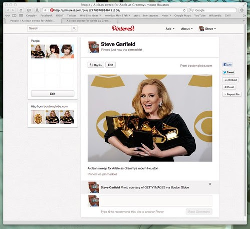 Pinterest - People - A clean sweep for Adele as Grammys mourn Houston by stevegarfield