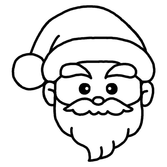 サンタ顔白黒サンタクロースクリスマス無料イラスト素材
