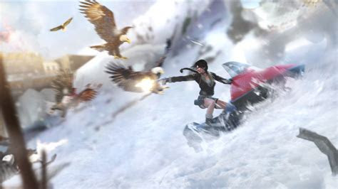 full hd wallpaper lara croft shooting eagle mountain
