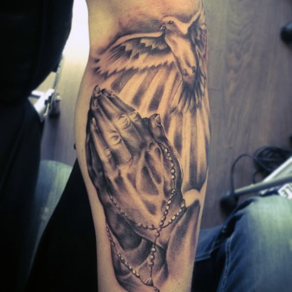 Flying Pigeon And Praying Hands Tattoo On Arm Sleeve