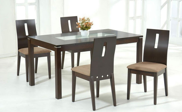 Stylish Wooden and Frosted Glass Top Microfiber Seats Dinette Set and Chairs  Modern  Dining