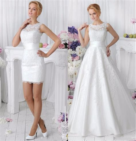 Elegant 2 in 1 Lace Wedding Dress Detachable Skirt High