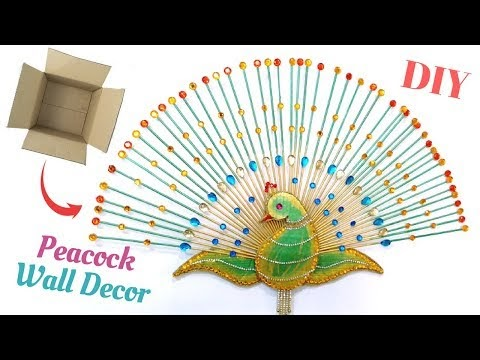 DIY Peacock Wall Decor   Best Out Of Waste From Cardboard Box   Ideas for Living Room By Maya !