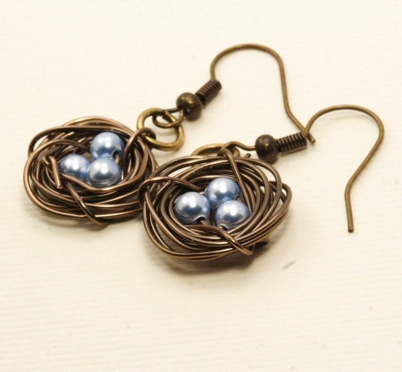 Birds Nest Earrings in Antique Brass