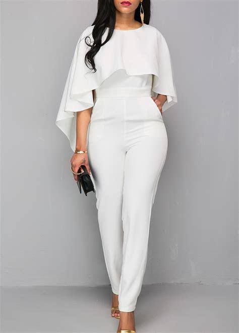 zipper closure   white cloak jumpsuit rosewecom