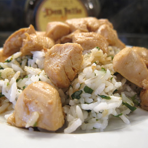 Tequila Chicken over Cilantro Lime Rice