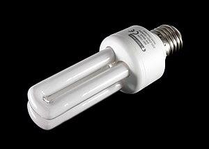 Modern fluorescent light bulb with E27 thread ...