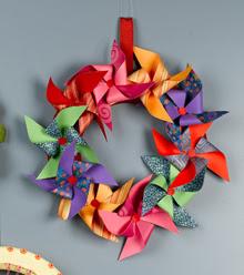 pretty paper pinwheel wreath