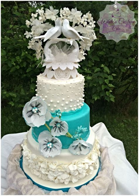 Teal And White Wedding Cake   CakeCentral.com
