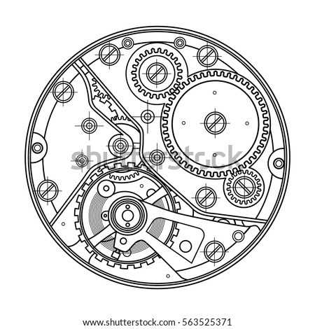 stock vector mechanical watches with gears drawing of the internal device it can be used as an example of 563525371
