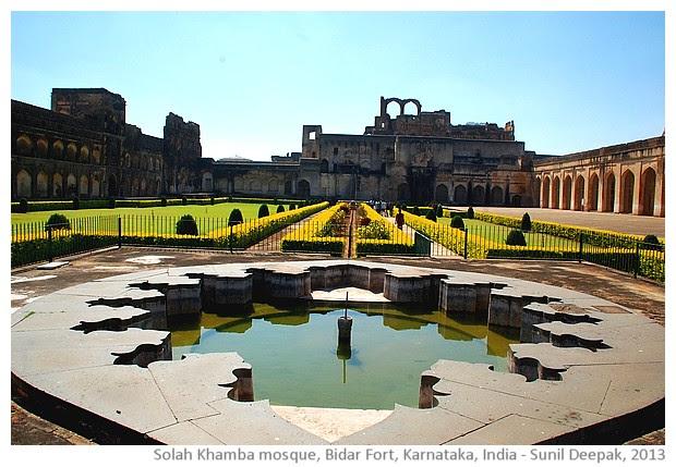 Gagan Mahal and mosque, Bidar fort, Karnataka, India - images by Sunil Deepak