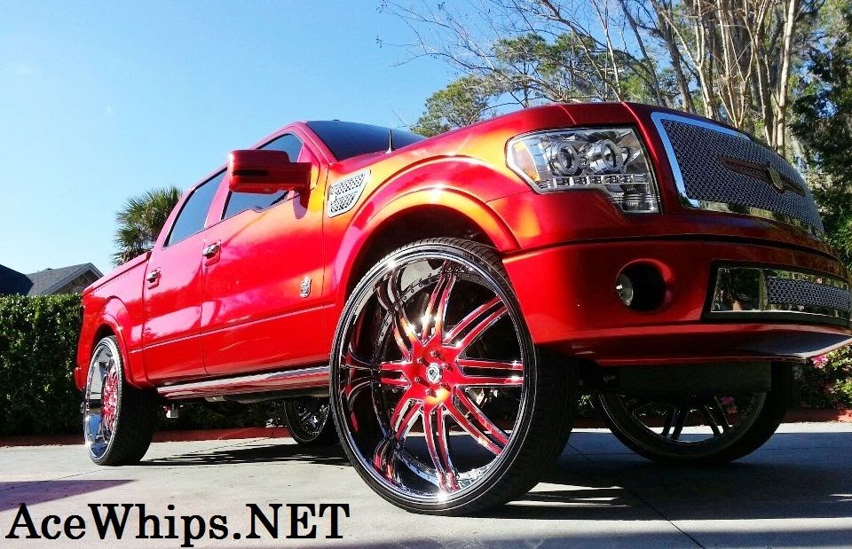 """Ace-1: Candy Red Ford Harley-Davidson Truck on 32"""" ASANTIS"""