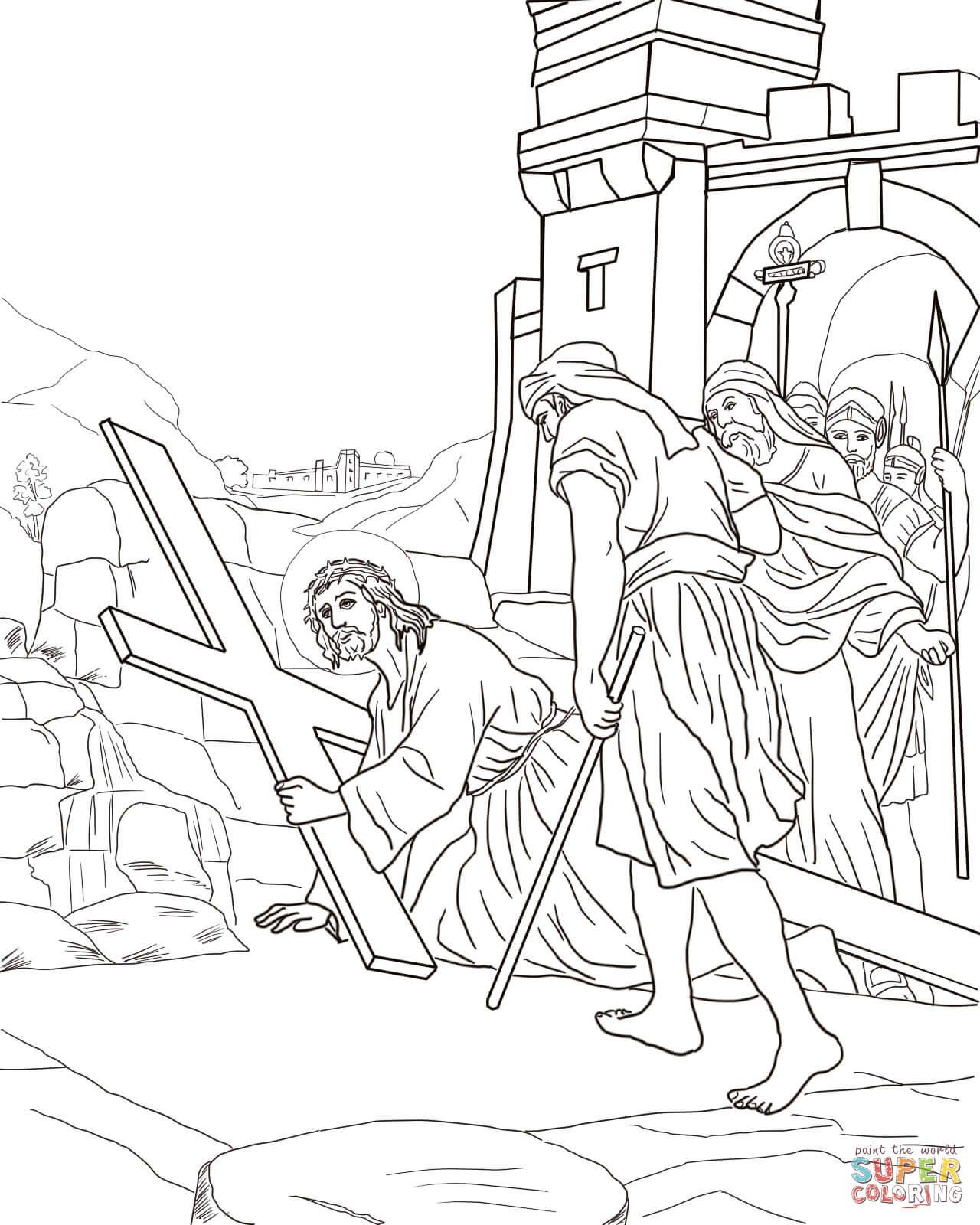 Disegno Di Undicesima Stazione Gesù è Inchiodato Sulla Croce Da
