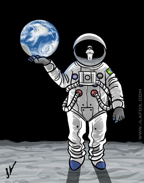 Ilustração turismo Lua, astronauta, NASA, Kennedy Space Center, ila fox, ricbit