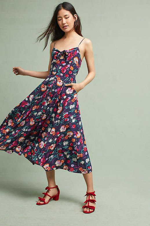 Le Fashion Blog Under $300 Fitted Tie Front Vibrant Midi Dress Via Anthropologie