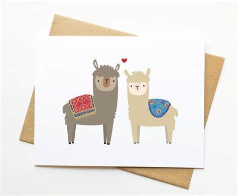 Alpaca Llama Valentine's Day Cute Card by LeTrango on Etsy