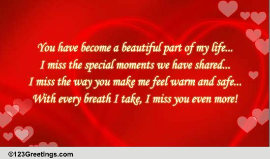 I Miss You In Every Breath Free Miss You Ecards Greeting Cards