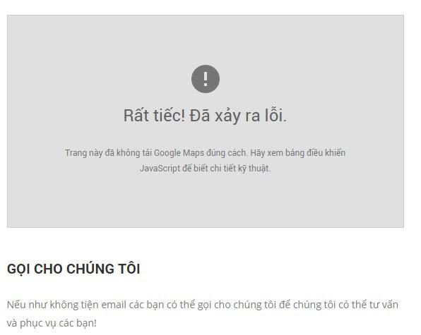 Lỗi thiếu API Key khi chèn Google Maps vào website