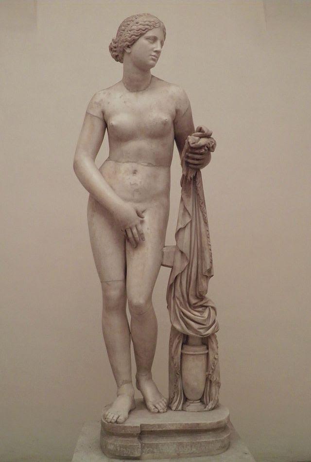 Cnidus Aphrodite, Roman copy after 4th century BC Greek original, Palazzo Altemps, Rome (8737574339).jpg