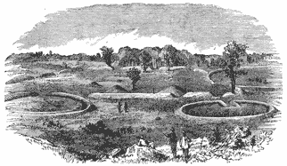 Drawing showing circular earthworks