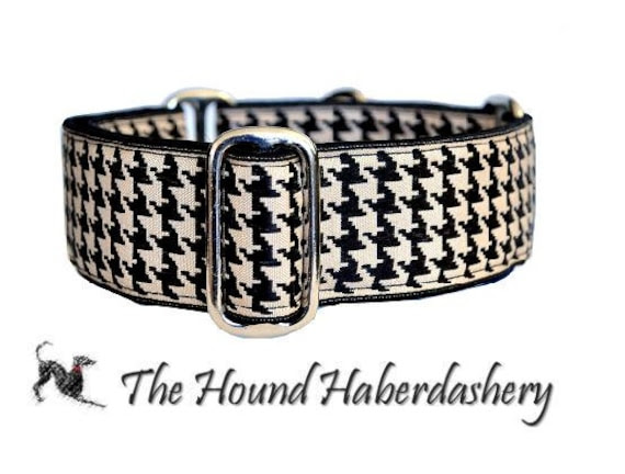 Martingale Collar: Classic Houndstooth (1.5 Inch), Dog Collar, Greyhound Collar, Custom Dog Collars, Greyhound Martingale