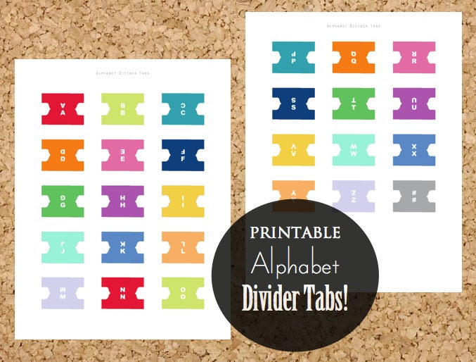 50% OFF Printable Alphabet Divider Tabs for Address Book or by ...