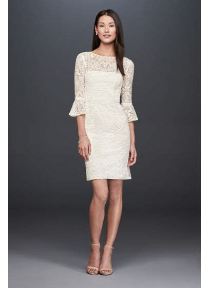 Short Illusion Lace Dress with 3/4 Bell Sleeves   David's