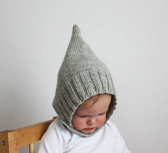 Ribbed Pixie Bonnet - Heather Gray