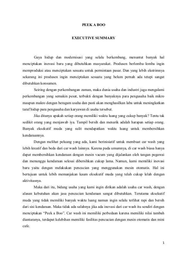 Contoh Executive Summary Makalah Rasmi H
