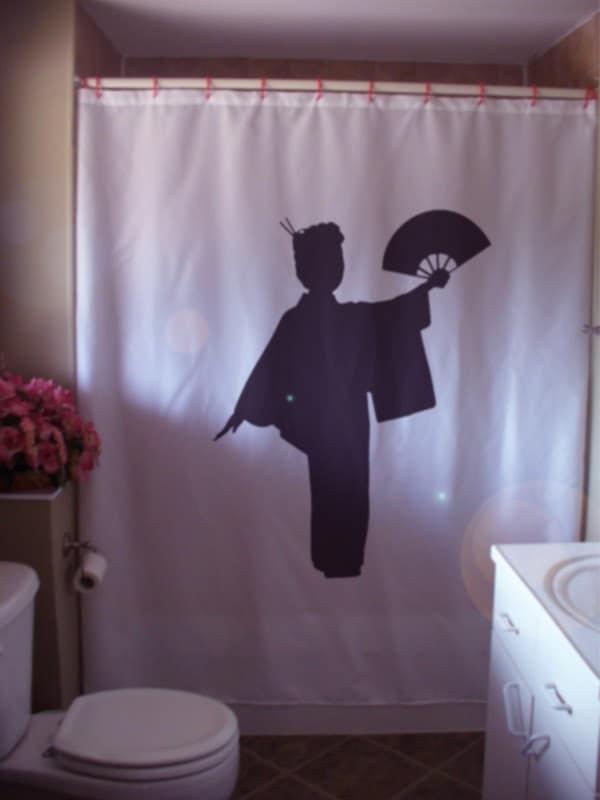 geisha fan Shower Curtain lady japan japanese by eternalart