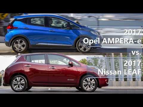 Technical comparison between 2017  Opel AMPERA-e vs. Nissan LEAF. Техническое сравнение между авто.