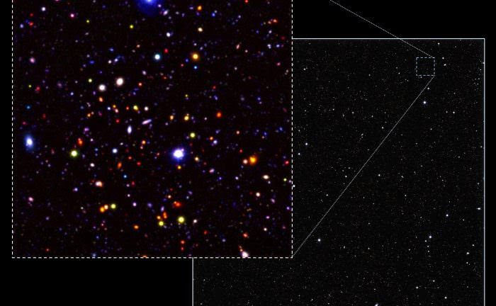 An image of a small section (0.4%) of the UDS field - showing a series of very distant galaxies as they appeared 9 billion years ago. Credit: Omar Almaini, University of Nottingham