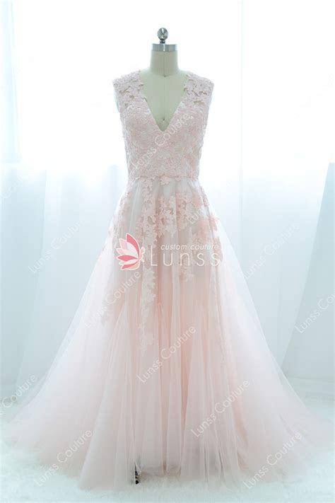Vintage Blush Pink Lace V neck Cap Sleeve A line Wedding