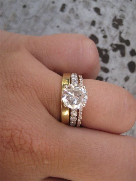 mix match styles :) perfect! rose/yellow gold bands to go