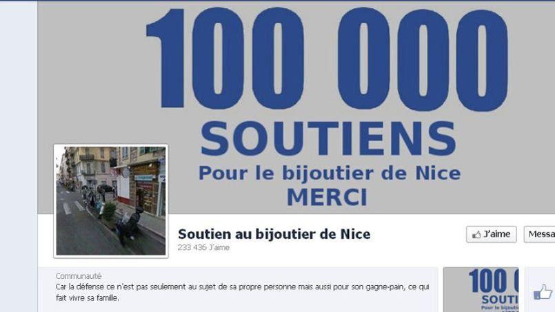 Capture d'écran réalisée vendredi matin de la page facebook de soutien au bijoutier.