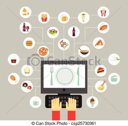 Clip Art Vector of Food icon   Food background   food