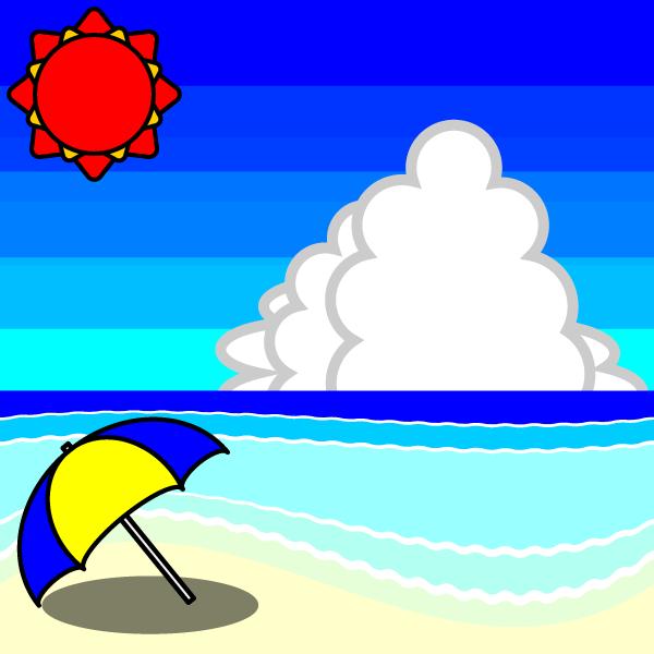 手書き風でかわいい夏の海辺の無料イラスト商用フリー オイデ43
